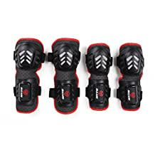 Dovewill Cycling Skiing Skateboarding Sports Knee, Elbow, Shin Protective Pads, 4Pcs Safety Guard Set
