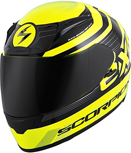 ScorpionExo Unisex-Adult full-face-helmet-style EXO-R2000 Helmet (Black/Neon,Medium), 1 Pack