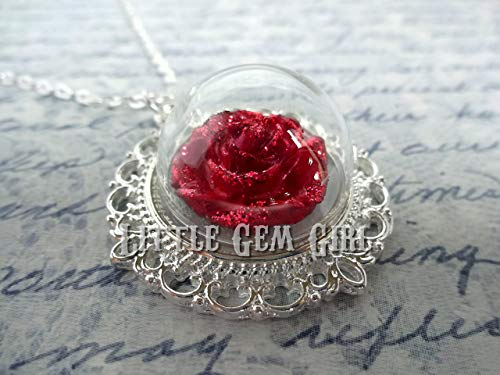 Beauty and the Beast Enchanted Red Rose Silver Necklace - Once Upon a Time Fairy Tale Charm - Glass Dome Sparkly Red Rose Halloween Costume Jewelry