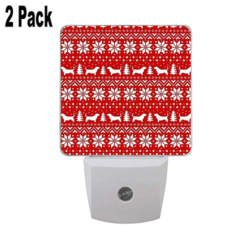 Basset Hound Silhouettes Christmas Sweater Pattern 2 PC Plug-in LED Night Lights with Personalized Nightlights with Dusk to Dawn Sensor White Lights Perfect for Bathroom Kitchen and Hallway