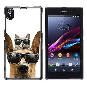 TopCaseStore / la caja del caucho duro de la cubierta de protección de la piel - Cat Great Dane Sunglasses Shades Summer - Sony Xperia Z1 L39 C6902 C6903 C6906 C6916 C6943