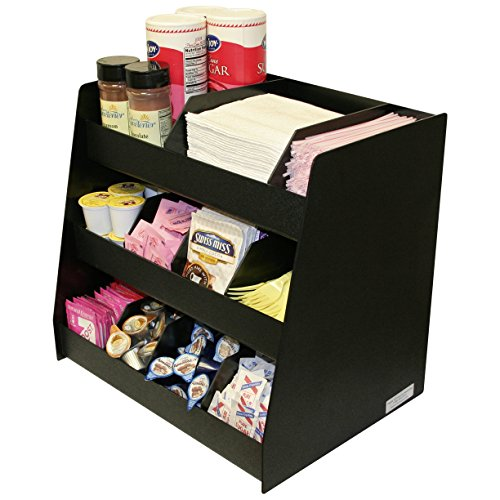 Coffee Condiment Organizer Makes A Professional Presentation. Now Comes With 8 Extra Tall Movable Dividers that Fit All Shelves.
