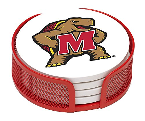 Thirstystone VUMD-HA24 Stoneware Drink Coaster Set with Holder,-University of Maryland