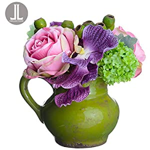 "11"" Handwrapped Vanda, Rose & Snowball Silk Flower Arrangement -Orchid/Pink (Pack of 4) 29"