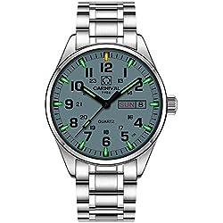 PASOY Men's Luminous Tritium Watch Stainless Steel Swim Date Green Light Sapphire Glass Quartz Watches