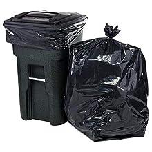 "Plasticplace 95 Gallon Trash Bags, 1.5 Mil, 61""W x 68""H, Black, 50/Case"