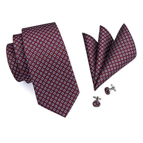 Maroon Mens Cufflinks (Barry.Wang Men's Polka Dot Necktie Handkerchief Cufflinks Set Burgundy Maroon)