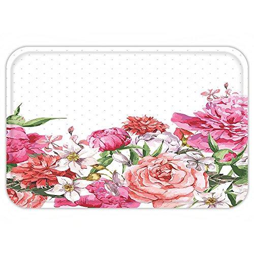 Aztec Hot Water Extractor (VROSELV Custom Door MatFloral BloomBouquet Botany Rose Peony Wild Lily Love Watercolor Art Hot Pink Dark Coral Hunter Creen)