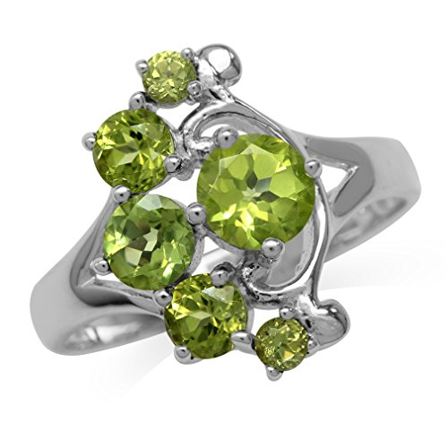 (1.77ct. Natural Peridot White Gold Plated 925 Sterling Silver Filigree Casual Ring Size 6)