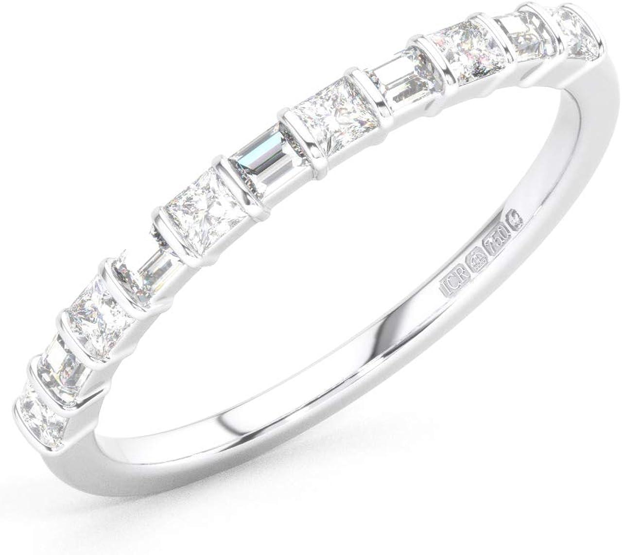 Juego de barra Baguette y diamantes redondos de talla brillante anillo de media eternidad en platino