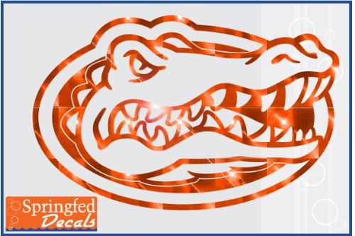 Gator Head Mirror - Florida Gators ORANGE MIRROR VINYL GATOR HEAD LOGO 9