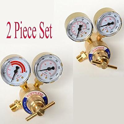 2PC Set Acetylene And Oxygen Regulators Dual Gauge Cutting Torch Regulators Portable Size