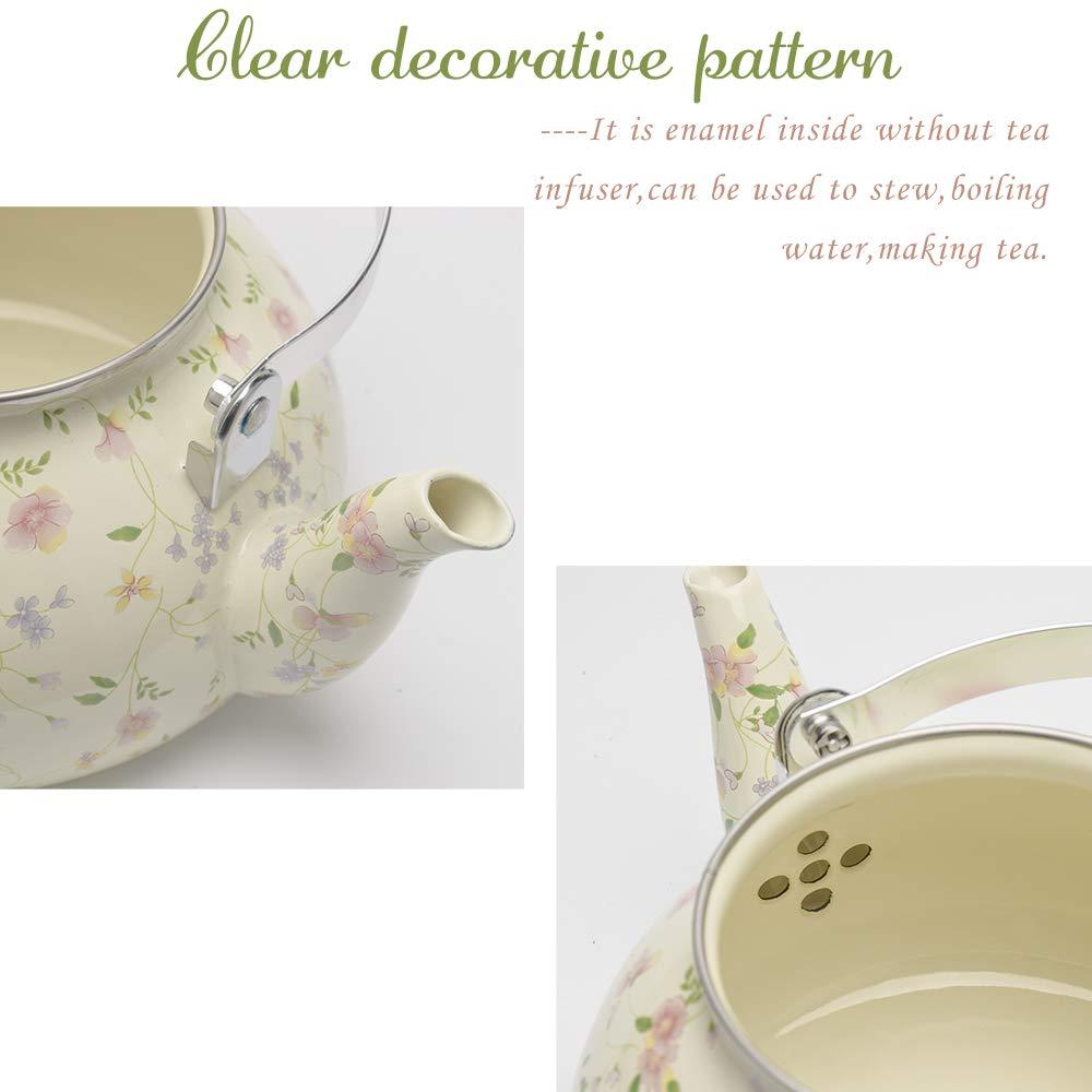 Enamel on Steel Tea Kettle, Porcelain Enameled Teapot, Halogen Induction Cooker Coffee Pot for Stovetop Retro Classic Design 2.5Qt Capacity by Alistar99 (Image #3)