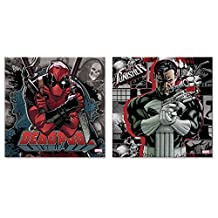 Silver Buffalo MU062Q1 Marvel Deadpool Knife and the Punisher Gun Canvas Wall Art, 12 in x 12 in, 6 Piece