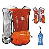 JEELAD 5L Running Hydration Vest Hydration Backpack for Marathon Jogging Biking Cycling (Orange (5L) - with a Soft Water Bottles)