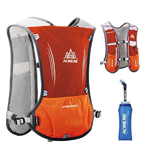 TRIWONDER Hydration Pack Backpack 5L Marathoner Running Race Hydration Vest (Orange) ()