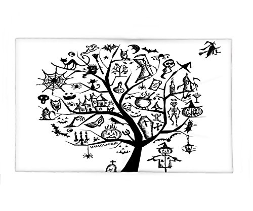 Interestlee Fleece Throw Blanket Halloween Decorations Collection Sketch Style Halloween Tree with Spooky Decor Objects and Wicked Witch on Broom Black (Wicked Witch Bike)