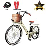 BRIGHT GG NAKTO 26' Electric ebike Shimano 6-Speed Gear 250W City Electric Bicycle with 36V12A Lithium Battery Laundry Bag and Lock