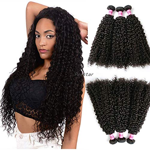 Perstar Brazilian Kinky Curly Virgin Hair Bundles 3 Pcs/lot 8A 100% Remy Human Hair Weaves Wet and Wavy Hair Extension(12 14 16, Natural Color)