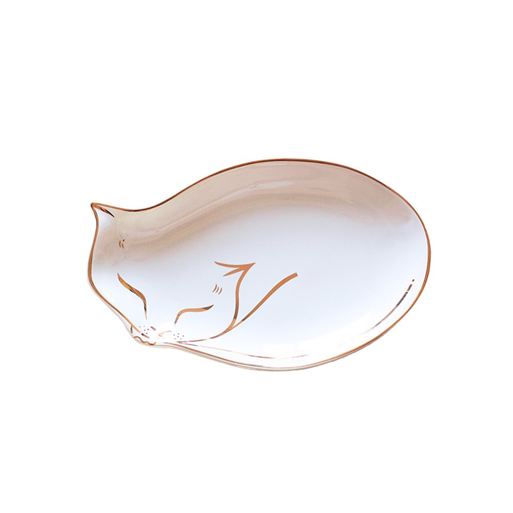 SOCOSY Chic Cat Shaped Ceramic Ring Dish Jewelry Dish Ring Holder Jewelry Organizer Trinket Tray with Golden Edged Home Decor Wedding Gift