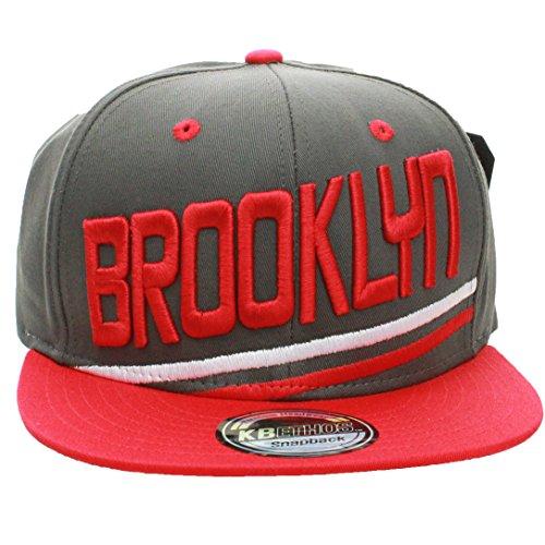 Baseball Team Brooklyn (American Cities Brooklyn City Pro Teams Flat Visor Bill Stripes Snapback Hat Cap (One Size, Gray Red))