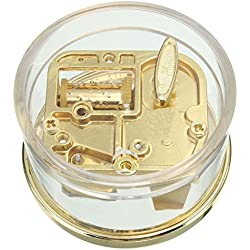 """MAYMII Tiny Wind Up Circle in Gold DIY Musical Box Beautiful Melody Gift """" YOU ARE MY SUNSHINE """""""
