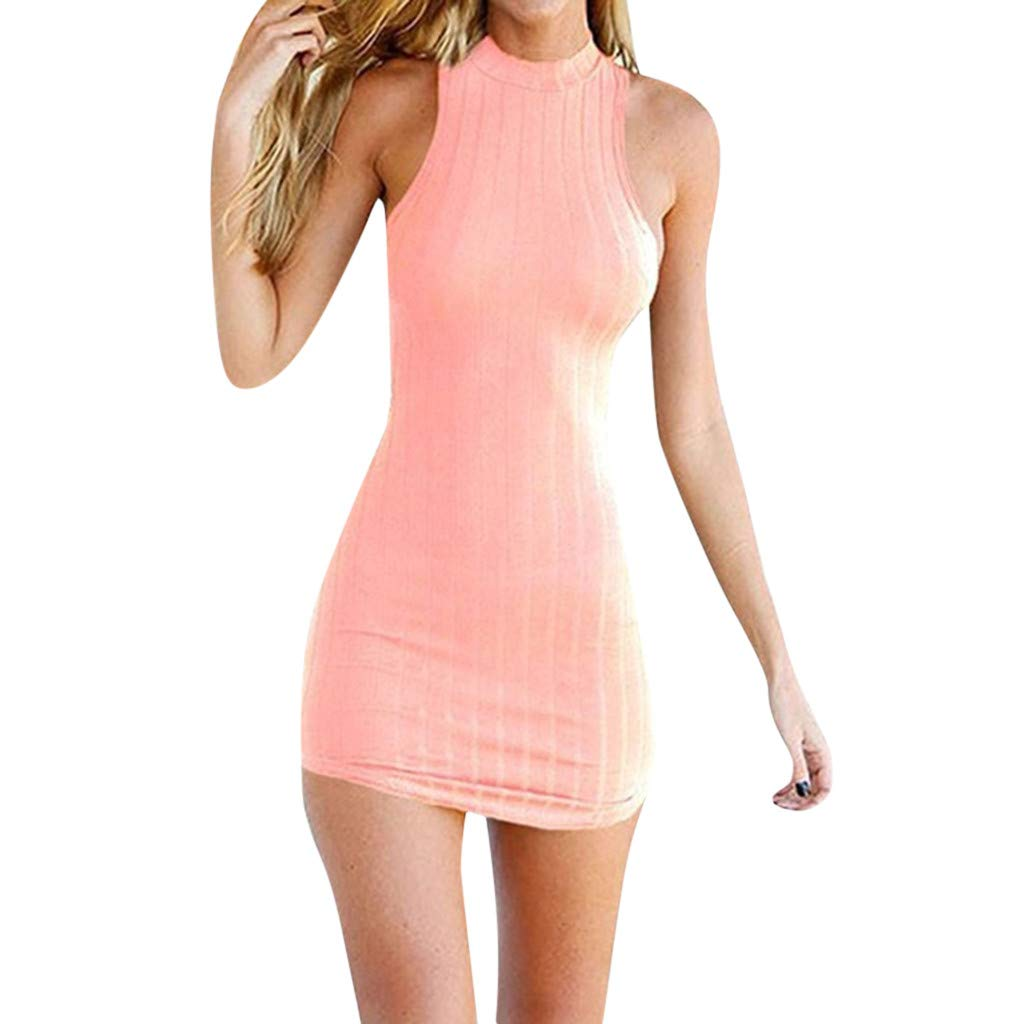 2019 Womens Solid Sexy Slim Halter Sleeveless Solid Package Hip Dress A Line Dresses Party Beach S-XL (Pink, S)
