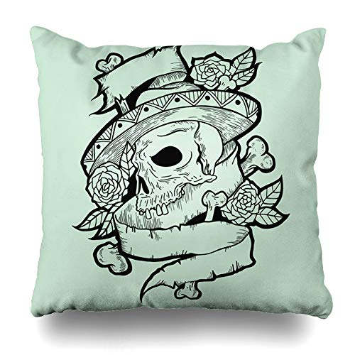 Ahawoso Throw Pillow Cover Square 20x20 Death Black Tatto Abstract Day Mexican Dead Dia Drawing Design White Home Decor Cushion Case Pillowcase]()