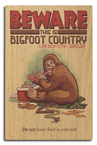 Lincoln City, Oregon - Bigfoot Country - Don't Store Food in Tent (10x15 Wood Wall Sign, Wall Decor Ready to - In Stores Lincoln City Oregon