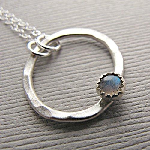 dainty labradorite necklace natural Silver labradorite necklace blue flash rainbow labradorite genuine labradorite jewelry labradorite pendant