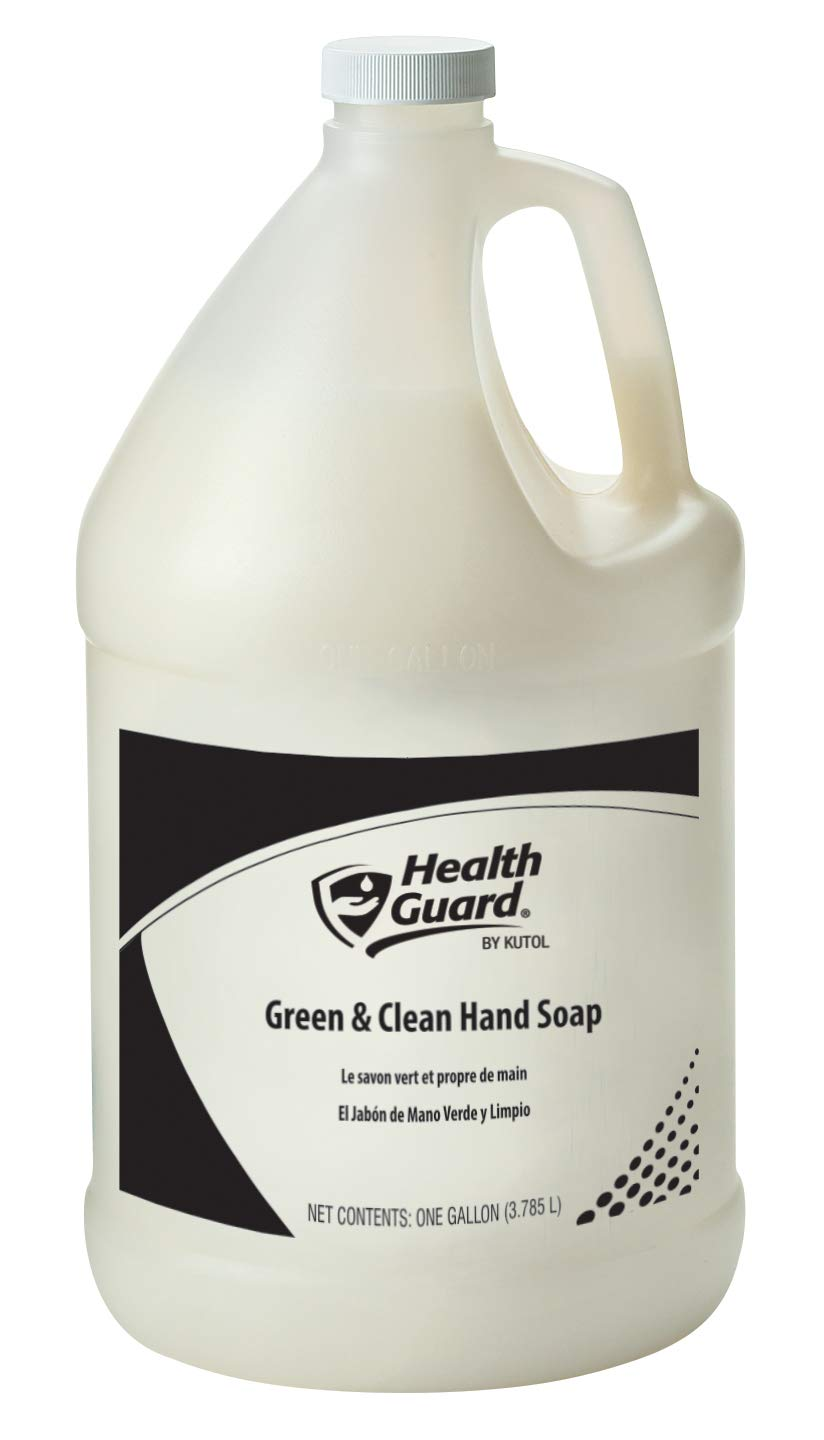 Health Guard 7213 Green & Clean Hand Soap, 1 Gallon Pour Top Bottle, White with Tropical Fragrance (Pack of 2) by Kutol