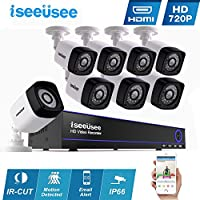 ISEEUSEE 8CH HDMI DVR 1500TVL Outdoor Indoor Day Night IR-CUT CCTV Surveillance Home Office Video Security Camera System,Motion Detection Free APP Remote Viewing Push Alerts-NO Hard Drive