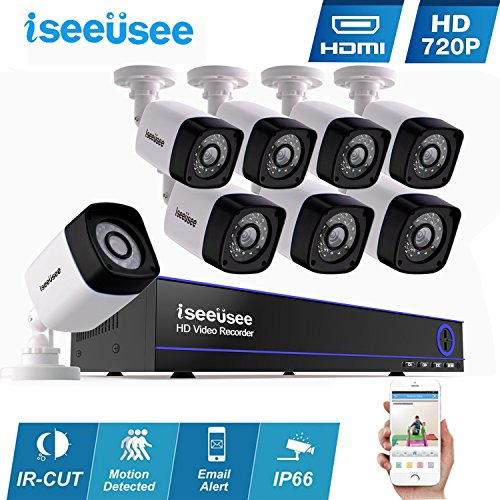 Hdmi Video Cameras (ISEEUSEE 8CH HDMI DVR 1500TVL Outdoor Indoor Day Night IR-CUT CCTV Surveillance Home Office Video Security Camera System,Motion Detection Free APP Remote Viewing Push Alerts-NO Hard Drive)