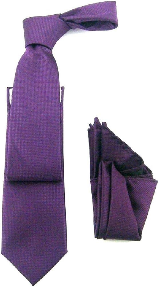 Antonio Ricci Tone on Tone Solid Pique Design Tie Narrow Tie with matching Han kerchief Pocket square