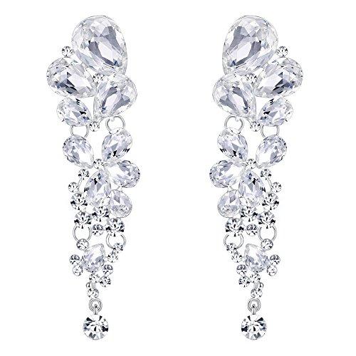 EVER FAITH Women's Austrian Crystal Gorgeous Tear Drop Wedding Dangle Pierced Earrings Clear Silver-Tone
