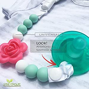 Pacifier Clip – 2 in 1 – Modern and Trendy – Teething Baby Silicone Beads with Unique Shapes – Girl's Binky Holder – Best for Teether Toys, Stuffed Animals, Soothie/MAM, Infant Blankets & Drool Bibs
