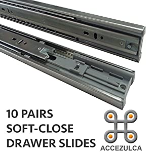 (PACK 10 PAIRS) ACCEZULCA SOFT-CLOSE DRAWER SLIDES (12 INCHES)