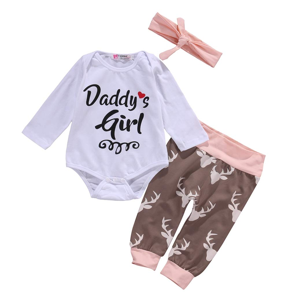 B Bone Cute 3Pcs Newborn Infant Baby Girls O-Neck Clothing Playsuit Romper Pants Headband Outfits