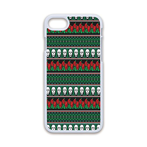 - Phone Case Compatible with iPhone7 iPhone8 White Soft Edges 2D Print,Skulls Decorations,Mexican Folk Art Skulls and Roses Knitted Pattern,Hard Plastic Phone Case