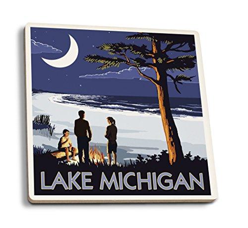 Lantern Press Lake Michigan - Bonfire at Night