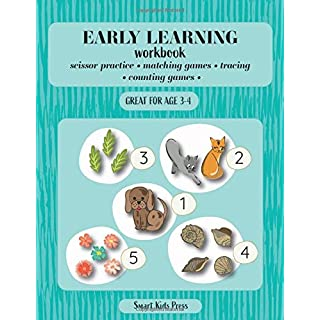EARLY LEARNING WORKBOOK: Scissor Practice, Matching Games, Tracing, Counting Games. Great for age 3 to 4 (EARLY LEARNING ATCIVITY BOOKS  FOR PRESCHOOL)