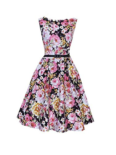 Ecollection Damen Audrey Hepburn 50s Retro Flower vintage Bubble Skirt Rockabilly Swing Evening Kleid