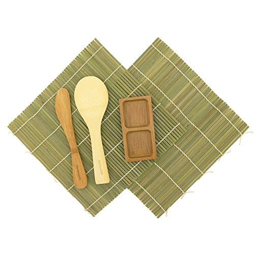 BambooMN Sushi Making Kit - 2x Green Bamboo Rolling Mats, 1x Rice Paddle, 1x Spreader, 1 Compartment Sauce Dish | 100% Bamboo Mats and Utensils