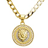 "METALTREE98 Fashion CZ Stoned Medallion Lion Head Pendant 20""/22"" Cuban Chain Necklace Set CP 282 G"