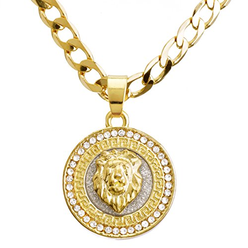 metaltree98 Fashion CZ Stoned Medallion Lion Head Pendant 20