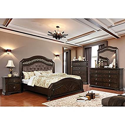 Amazon Com Calliope Master Bedroom Rich Espresso Finish Camel Back