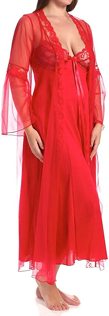 Shirley of Hollywood Women's Plus Size 2 Piece Long Gown Peignoir Set X3489: Clothing