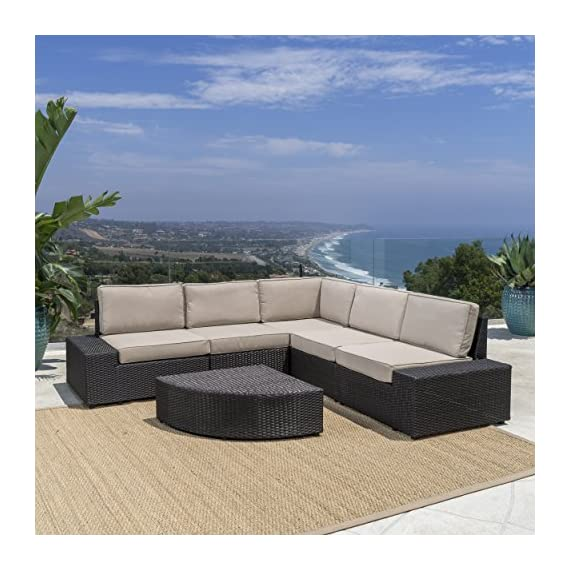 Christopher Knight Home Santa Cruz Outdoor Wicker Sectional Sofa Set with Water Resistant Cushions, 6-Pcs Set, Brown - 6-Piece sofa set: our 6-piece sofa set with cushions will meet all your outdoor furniture needs. This high-class lounge set includes a 5-piece sectional with 1 corner section, 2 armless chairs, and 2 end pieces, and a small triangular Wicker Table with one round edge. It fits perfectly with the l-shaped sofa. Water-resistant cushions: at Great Deal Furniture, we bring you the best outdoor furniture available. Our large Beige polyester seat cushions, which fit perfectly on our Wicker sectional, are made of a tough, yet soft, water-resistant fabric. This gives them protection from weather elements without needing an additional cover. The cushions Are removable and washable. High-quality wicker: to give your space A classic Bay feel, we created our reddington furniture set with durable, faux Wicker that is easy to Care for and built to last. The black-brown Wicker makes up the base of the sofa, which is the same material as the table and end pieces. - patio-furniture, patio, conversation-sets - 51YBM4uK5EL. SS570  -