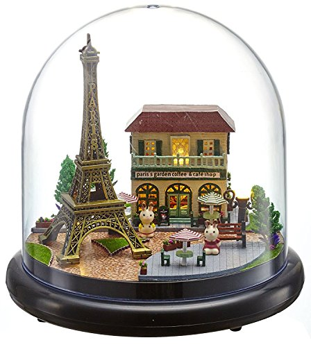 Rylai 3D Puzzles Wooden Handmade Miniature Dollhouse DIY Kit w/ Light-Romantic Paris Series Acrylic Dome Dollhouses Accessories Dolls Houses with Furniture & LED & Music Box Best Xmas -