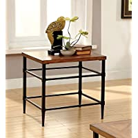 Furniture of America Brenna Industrial End Table, Light Oak